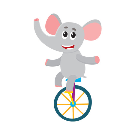 Cute little elephant character riding bicycle. Illustration