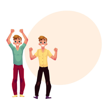 Two men, boys, friends rejoicing, cheering, celebrating, clenching fists in excitement, cartoon vector illustration with space for text. Full length portrait of happy rejoicing young men