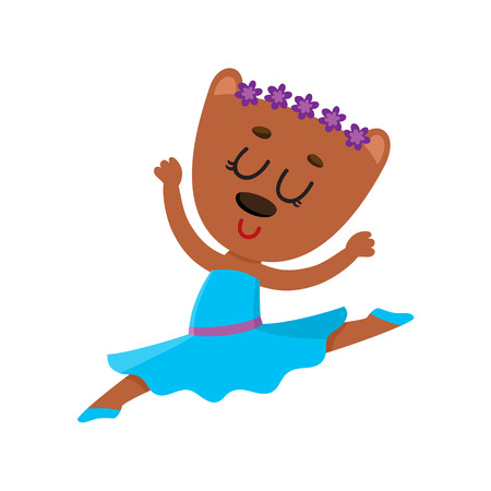 Happy cute little bear ballet dancer in pointed shoes and tutu skirt. Illustration