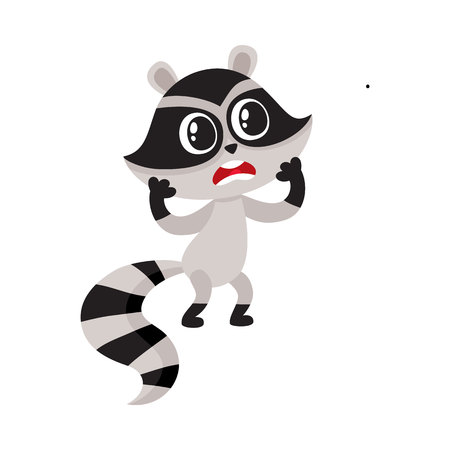 Cute raccoon character unpleasantly surprised, shocked, showing disbelief, cartoon vector illustration isolated on white background. Little raccoon holding head in paws from disbelief, feeling shock