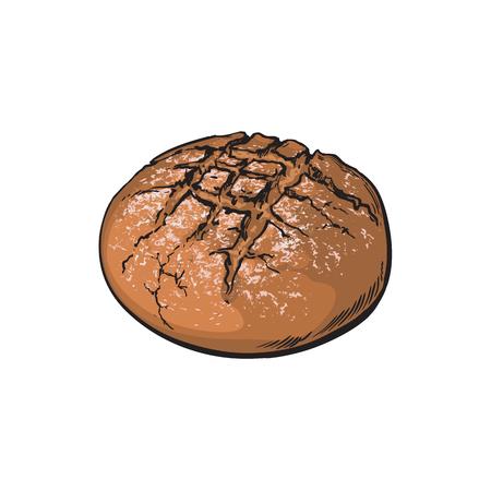 Fresh dark brown round rye bread loaf.