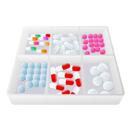 Transparenter Plastikbehälter voll Pillen. Standard-Bild - 84062036