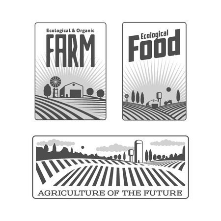 Farm field labels set of logo, badge, label with fields and water towers over forest and cloudy sky background, vector illustration.