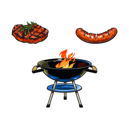 Round charcoal grill, beef steak and sausage, barbecue, BBQ concept, sketch style vector illustration on white background. Realistic hand drawing of burning BBQ charcoal grill, beef steak and sausage