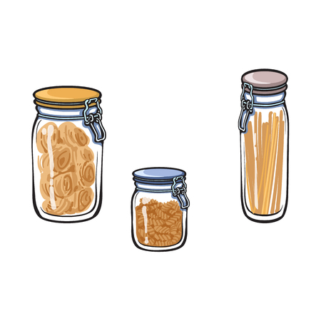 vector glass jar with swing top lid set. Different size bottles sketch cartoon isolated illustration on a white background.