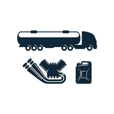 vector gasoline tanker truck vehicle petroleum engine, canister set simple flat icon pictogram isolated on a white background. Imagens - 84067563