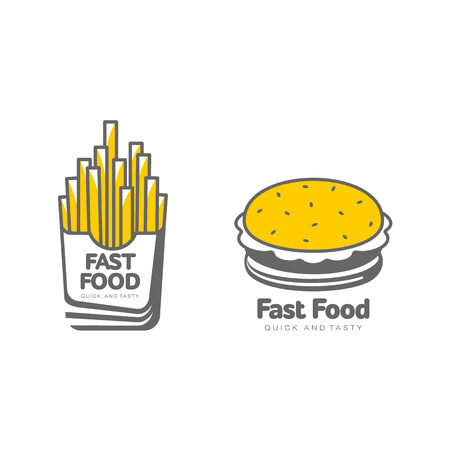 Vector potato fry, french fries on paper box sandwich burger icon set. Flat cartoon isolated illustration on a white background.