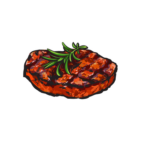 Grilled beef steak, beefsteak with rosemary, sketch style vector illustration on white background. Realistic hand drawing of grilled piece, cut of meet, beef steak served with rosemary Çizim