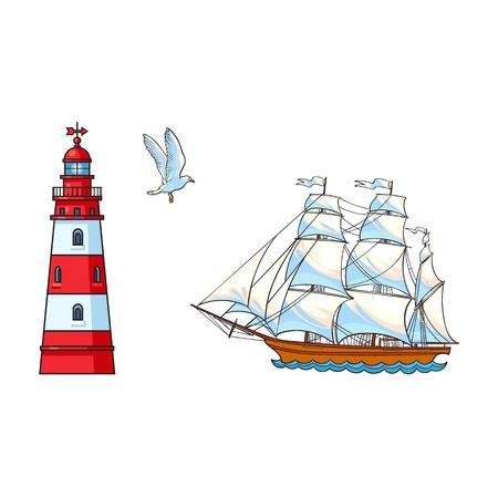 Mooi varend schip, vuurtoren en zeemeeuw, getrokken hand, de vectorillustratie van het schetsstijlbeeldverhaal die op witte achtergrond wordt geïsoleerd. Beeldverhaalreeks van varend schip, zeilboot, vuurtoren en vliegende zeemeeuw