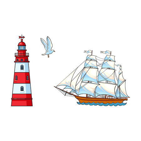 Schöne Segelschiff, Leuchtturm und Möwe, Hand gezeichnet, Skizze Stil Cartoon-Vektor-Illustration isoliert auf weißem Hintergrund. Cartoon-Set von Segelschiff, Segelboot, Leuchtturm und fliegende Möwe Standard-Bild - 84564620
