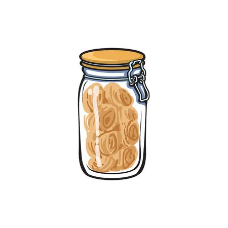 bocal en verre de vecteur avec illustration de dessin animé de couvercle haut swing croquis sur fond blanc. Concept d'objets ustensiles de cuisine équipement ustensile