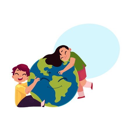 Kids, boy and girl, hugging smiling Globe, Earth planet character, cartoon vector illustration isolated on white background with speech bubble .