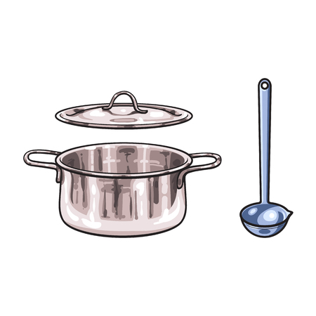 vector metal chrome cooking pot, ladle sketch cartoon isolated illustration on a white background. Kitchenware equipment utensil objects concept