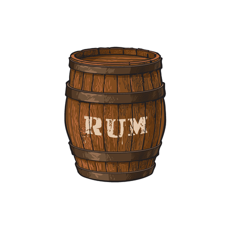 vector wooden rum barrel isolated illustration on a white background. Cartoon oak old keg, alcohol storage. Symbol of pirates, adventure, treasure