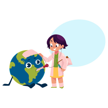 Girl playing doctor with Globe, Earth planet character, cartoon vector illustration isolated on white background with speech bubble