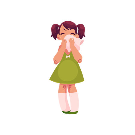 ポニーテールと八重歯、白い背景で隔離の漫画ベクトル図は大きなハンカチで鼻を拭いて泣いている小さな女の子。泣いている彼女の鼻、完全な長