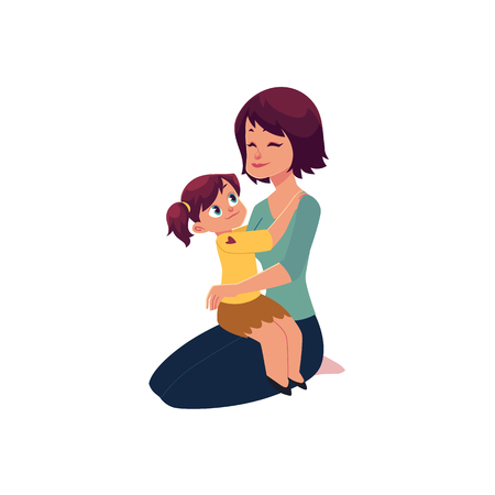 Mom and daughter hugging, embracing each other, little girl sitting on her mom knee, cartoon vector illustration isolated on white background. Happy cartoon mother and daughter hugging each other