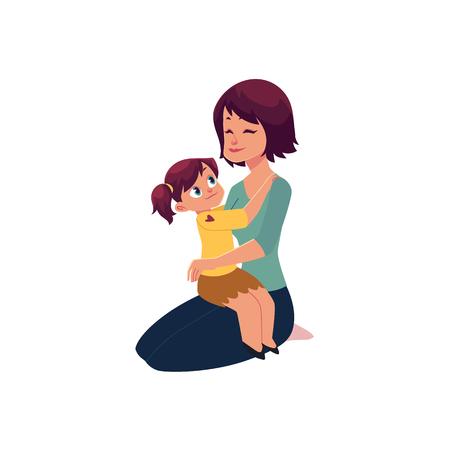 엄마와 딸 포옹, 서로 포용, 그녀의 엄마 무릎에 앉아 어린 소녀, 만화 벡터 일러스트 레이 션 흰색 배경에 고립. 행복 한 만화 어머니와 딸이 서로 포옹 일러스트