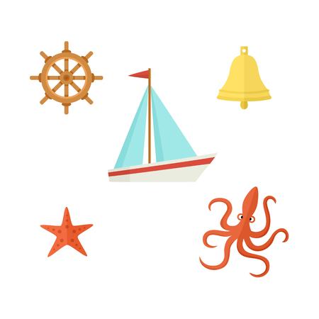 Nautical, sea set - sailboat, steering wheel, ship bell, starfish, octopus, flat cartoon vector illustration isolated on white background. Nautical elements - sailboat wheel bell starfish and octopus