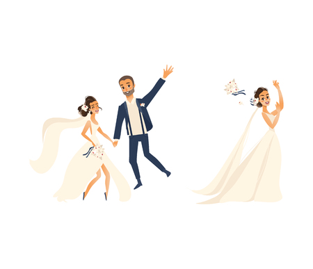 vector groom and bride newlywed couple set flat cartoon illustration isolated on a white background. Wedding concept character design