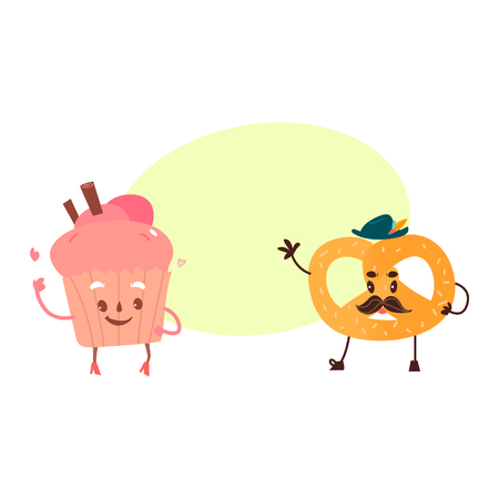 Vector sweet humanized character set. pretzel , cupcake with arms and legs in hat. Flat cartoon isolated illustration on a white background. Funny smiley dessert with mustache. with speech bubble