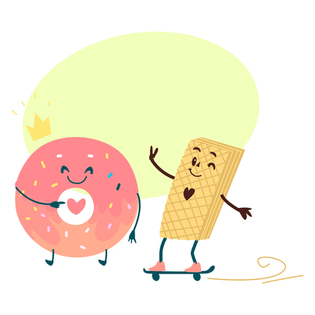 Vector sweet humanized character set. Skatboarding waffle, pink donut wearing golden crown with arms and legs. Flat cartoon isolated illustration on a white background with speech bubble