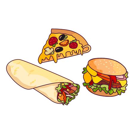 Vector sandwichhamburger, pizza plak doner kebab, shoarma set. Fastfood platte cartoon geïsoleerde illustratie op een witte achtergrond. Lekker eten met verse groenten