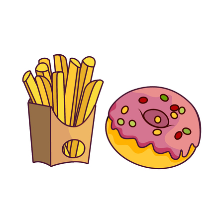 Vector donut with pink glaze icing and sprinkles, potato fry set. Flat cartoon isolated illustration on a white background. Sweet delicious dessert food, snack. French fries in paper box, fast food Illustration