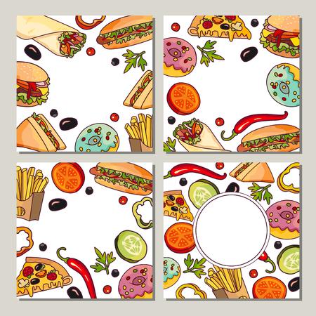 Vector fast food template set. tranche de pizza à l'hamburger, filet de bifteck à pain et kebab à la pomme de terre. Illustration dessinée isolée sur un fond blanc. Objets mélangés avec espace libre pour votre texte Banque d'images - 84564650