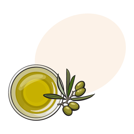 Bowl of natural oil massage decorated with fresh mint leaves, top view sketch vector illustration with space for text. Top view hand drawing of organic oil massage with mint leaves, spa accessory Çizim