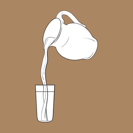 液体のミルク瓶からの図面