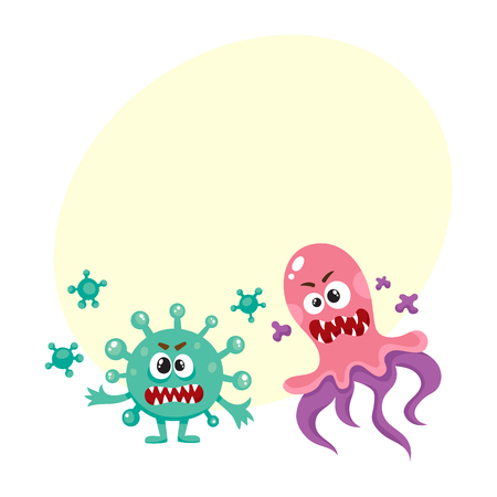 Set of ugly virus, germ and bacteria characters.