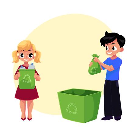 Kids throwing plastic bottles in trash.