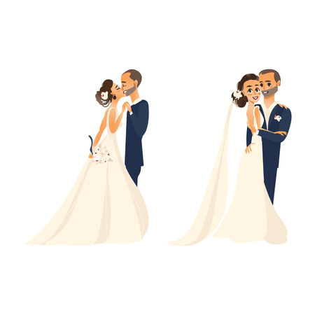 vector groom and bride newlywed couple kissing each other, set flat cartoon illustration isolated on a white background. Wedding concept character design Çizim