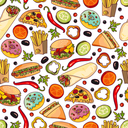 Vector fast food seamless pattern. burger pizza slice, roll doner kebab potato fry sandwich donut vegetables objects. Fast food flat cartoon isolated illustration on a white background. Illustration