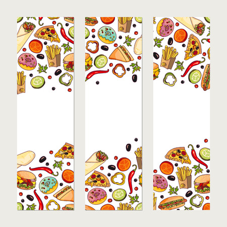 Vector fast food banner template set. burger pizza slice, roll doner kebab potato fry sandwich donut. flat cartoon isolated illustration on a white background. Mixed objects, free space for your text