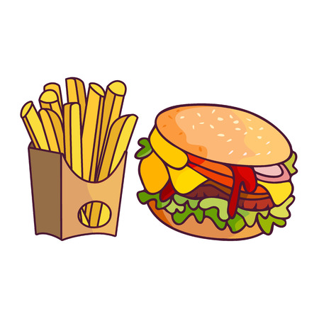 Vector sandwich burger potato fry set. Fast food flat cartoon isolated illustration on a white background. French fries on paper box and fresh hamburger with vegetables
