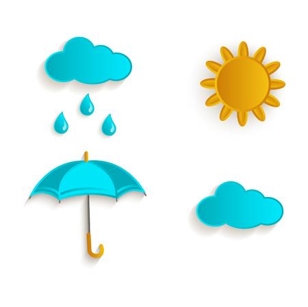 vector cartoon autumn symbol objects set. Isolated illustration on a white background. Rain cloud, sun and umbrella. Autumn object concept