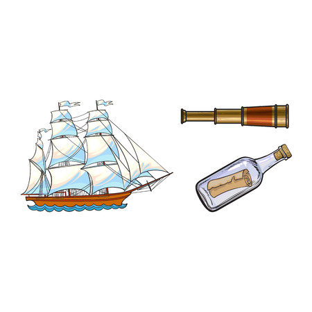 Beautiful sailing ship, sailor telescope, spyglass and message in bottle, sketch style cartoon vector illustration isolated on white background. Cartoon set of sailing ship, telescope, bottle message Ilustração