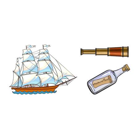 Mooi varend schip, zeemanstelescoop, kijker en bericht in fles, de vectorillustratie van het schetsstijlbeeldverhaal die op witte achtergrond wordt geïsoleerd. Beeldverhaalreeks van varend schip, telescoop, flessenbericht