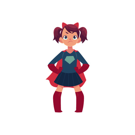 Meisje in superherokostuum en duivelshoornen met droevig, verstoord gezicht, beeldverhaal vectordieillustratie op witte achtergrond wordt geïsoleerd. Triest cartoon meisje in superheld kostuum en duivel hoorns