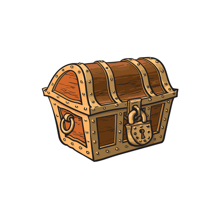 vector closed locked wooden treasure chest. Isolated illustration on a white background. Flat cartoon symbol of adventure, pirates, risk profit and wealth. Çizim
