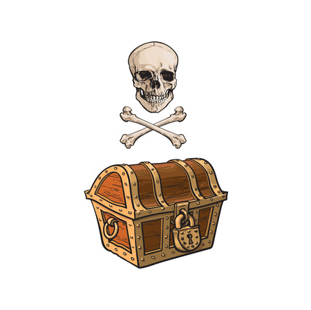 vector cartoon pirates symbols set isolated iilustration on a white background. Skull and cross bones, closed treasure chest jolly roger sign