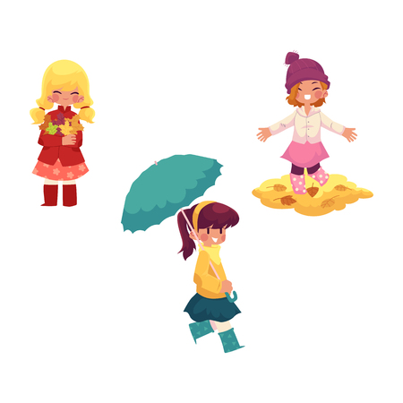 vector girls character set. Kid keeping umbrella in hand,, girls collect autumn falling leaves throw it up in autumn clothing. cartoon isolated illustration on a white background Autumn kids activity