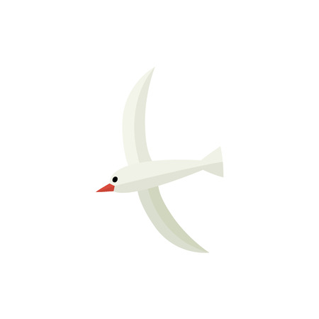 Flying, hovering seagull, flat style cartoon vector illustration isolated on white background. Simple flat style cartoon vector illustration of seagull hovering in the sky