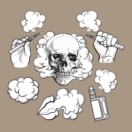 Vaping related elements, symbols - smoke, skull, vaporizer, e-cigarette, black and white sketch vector illustration on color background.