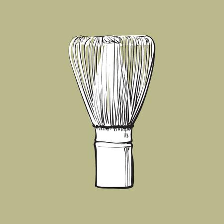 Vista lateral de dibujo de madera batir para la preparación de té matcha, sketch estilo ilustración vectorial aislados en fondo de color. Dibujo realista de mano de bambú batir para matcha Foto de archivo - 84354711
