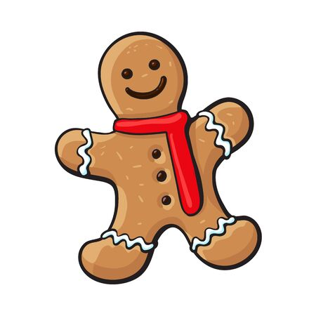 Glazed gingerman-shaped homemade Christmas gingerbread cookie, sketch style vector illustration isolated on white background. Christmas glazed gingerbread cookie in shape of smiling gingerman Иллюстрация