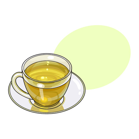 Green tea drink in transparent glass mug and saucer, sketch vector illustration isolated on white background with speech bubble Çizim