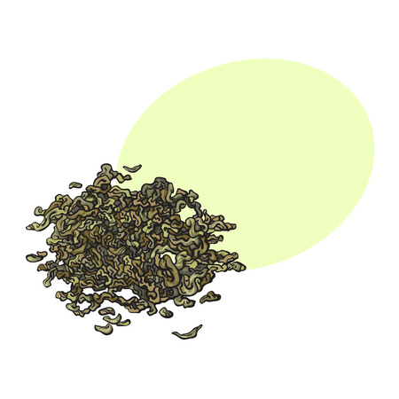 Hand drawn pile, heap, handful of dry, fermented green tea leaves, sketch vector illustration isolated on white background with speech bubble